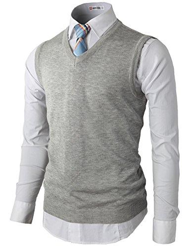 H2H Mens Big-Tall Fine Gauge V-Neck Sweater Vest Waistcoat Gray US S/Asia M (KMOV050)