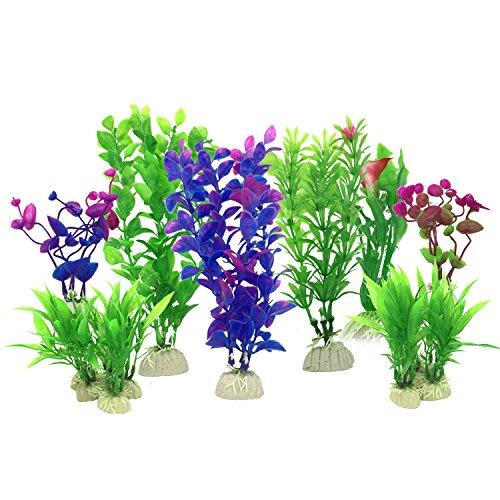 Aquarium Wasserpflanzen, PietyPet 16 Stück Klein Kunststoff Pflanzen Aquarium Aquariumpflanze Fisch Tank Dekoration, Lila und Grün