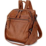 Backpack Purse for Women, PU Leather Fashion Convertible Backpack Shoulder Bag Ladies Rucksack In 2 Ways To Carry VONXURY Brown