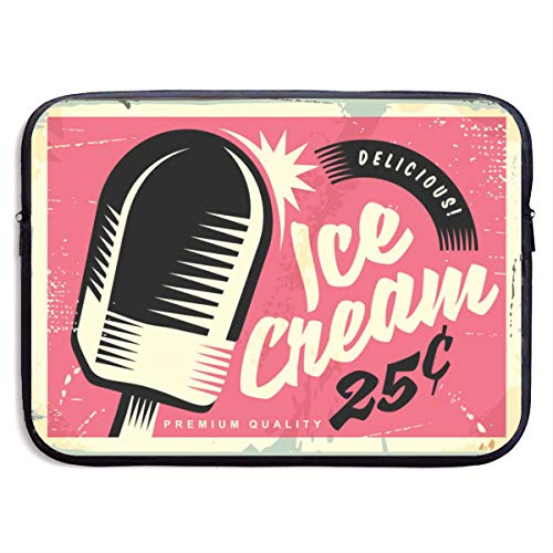 Retro Fifties Tin Sign with Delicious Ice Cream 13-15 Inch Laptop Sleeve Bag Portable Dual Zipper Case Cover Pouch Holder Pocket Tablet Bag,Water Resistant,Black