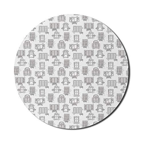 Sketch Mouse Pad für Computer, antike französische Stadt alte Häuser mit nostalgischen Retro-Fenstern und Blumentöpfen Kunst, runde rutschfeste dicke Gummi Modern Gaming Mousepad, 8 'rund, schwarz wei