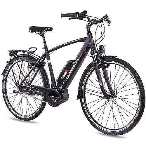 CHRISSON 28 Zoll Herren Trekking- und City-E-Bike - E-Rounder schwarz matt - Elektro Fahrrad Herren - 7 Gang Shimano Nexus Nabenschaltung - Pedelec mit Active Line Mittelmotor 250W, 40Nm