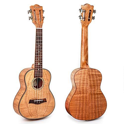 Kmise Konzert-Ukulele mit klassischem Gitarrenkopf, Massivholz,ca. 58 cm mit 18er Griffleiste für Musikliebhaber Solid (Okoume)