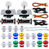 SJ@JX 2 Player Arcade Game DIY Kit Arcade Matt Frosted Black Button Twins USB Encoder Zero Delay 4&8 Way Arcade Fighting Joystick Controller for PC MAME Respberry Pi Retropie