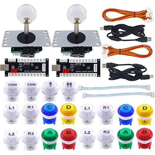SJJX Arcade Game DIY Kit 2 Player Zero Delay USB Encoder Button Joystick Controller fur Retro Raspberry MAME Jamma NES PC Windows