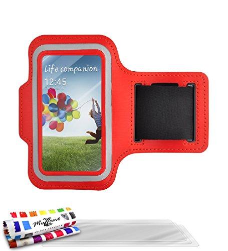 Sportarmband für Samsung Galaxy S4Advance [Tonic S3/S4] [rot] von MUZZANO + 3Schutzfolien Set