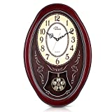 WallarGe Pendulum Wall Clock,Extra Large Westminster Chime Clocks,22' x 14.5' Cherry Tone Wood,Grandfather Wall Clocks,Chiming Every Hour,Vintage Decorative Clocks for Livingroom,Office and Hotel.