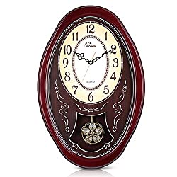 WallarGe Pendulum Wall Clock,Extra Large Westminster Chime Clocks,22 x 14.5 Cherry Tone Wood,Grandfather Wall Clocks,Chiming Every Hour,Vintage Decorative Clocks for Livingroom,Office and Hotel.
