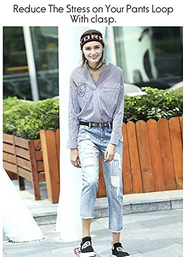 No Buckle Stretch Belt For Women Men Elastic Waist Belt Up to 72 Inch for Jeans Pants,Black,Pants Size 24-33 Inches