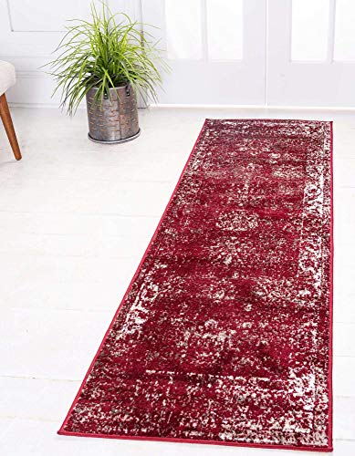 Unique Loom Sofia Collection Traditional Vintage Runner Rug, 2' x 6' 7', Burgundy/Ivory