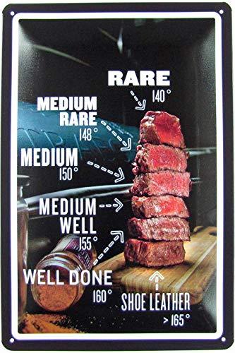 Blechschild 20x30cm gewölbt Beef Fleisch Steak Garstufen Tafel Well Medium Rare Deko Geschenk Schild