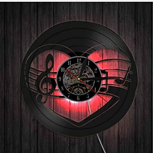 XUEJIAN Nota Musical Led Luz De Noche Disco De Vinilo Reloj De Pared Nuevo Reloj De Decoración De Pared De Sala De Estar Hueca