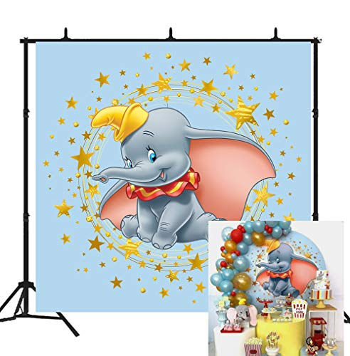 Photography Photo Booth Candy Dessert Table Boys Dumbo Duck Gray Elephant Animal Golden Star Photographic Video Banner Newborn Baby Shower Theme Party Happy Birthday Background Signs Seamless Cartoon