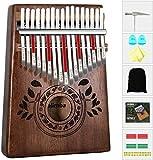 Kalimba - Piano de pulgar con 17 teclas con instrucciones de estudio y martillo de afinación, piano de dedo de madera africano portátil para niños y adultos principiantes