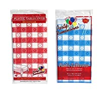 """Party Dimensions 54"""" x 108"""" Rectangular Tablecovers/Tablecloths - Bundle of 6 - Red Gingham & Blue Gingham [並行輸入品]"""