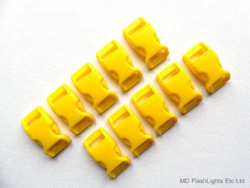 Jaune 10 x 15 mm 5/8 profilée incurvée Quick Release Paracord Bracelet de survie Boucles Idéal pour bushcraft Survival