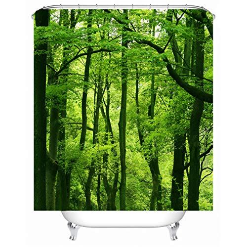 X-Labor Pflanzen Motiv Duschvorhang Wasserdicht Stoff Anti-Schimmel inkl. 12 Duschvorhangringe Waschbar Badewannevorhang 240x200cm Muster-E