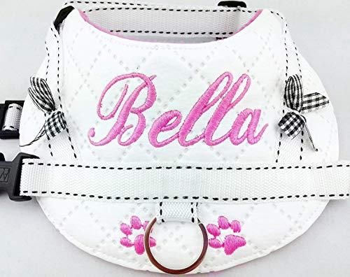 Hundegeschirr S M L XL XXL Brustgeschirr mit Wunsch Namen bestickt Kunstleder weiß rosa