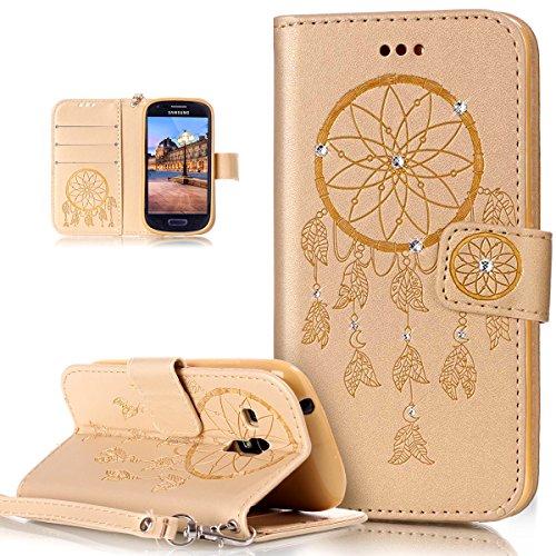 Galaxy S3MINI caso, Galaxy S3MINI Cubierta, ikasus), diseño de calavera de flores campanula pattern shiny Glitter Crystal Rhinestone Diamante piel sintética plegable tipo cartera, funda de piel tipo