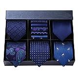 ビジネス ネイビー ネクタイ 5本セット[ HISDERN(ヒスデン) ] フォーマル ネクタイ チーフ メンズ 結婚式 青 ネクタイ ブランド プレゼント T5A003