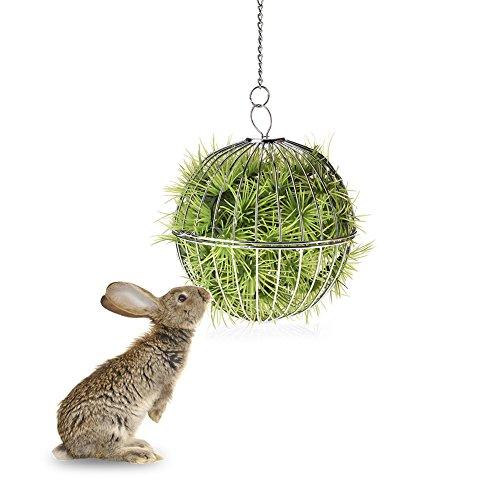 jannyshop–Aparcabicicletas para heno conejo bola dispensador para conejo bola de techo, acero inoxidable para pequeños animales de compañía
