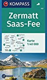 KOMPASS Wanderkarte Zermatt, Saas-Fee: Wanderkarte GPS-genau. 1:40000 (KOMPASS-Wanderkarten, Band 117)