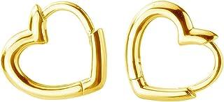 Dainty Love Heart Shaped Small Hoop Sleeper Earrings for Women Girls S925 Sterling Silver 14K Daith Heart Cartilage Tragus...
