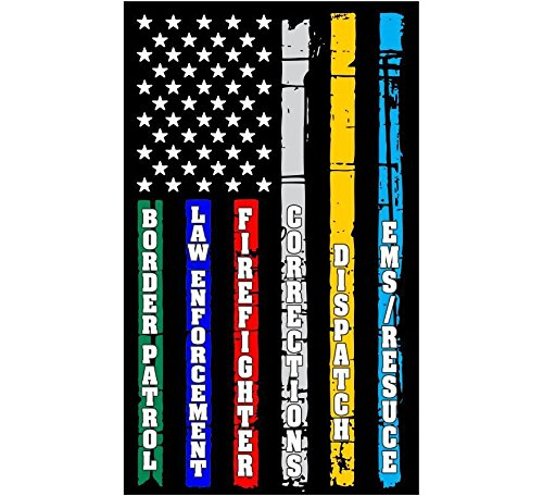 Thin Blue Line Red Line Fire, Police, Military, Dispatch Corrections Flag Decal Vinyl Sticker 5'