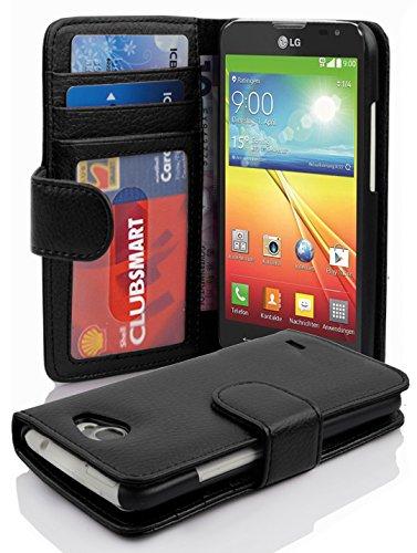 Cadorabo Hülle für LG L70 in Oxid SCHWARZ – Handyhülle mit Magnetverschluss & 3 Kartenfächern – Hülle Cover Schutzhülle Etui Tasche Book Klapp Style