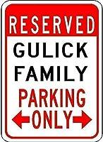 高輝度ティンサイン、ガリック家族駐車場-ビンテージの外観の複製金属ティンサイン楽しいティンサインバー居酒屋ガレージディナーカフェ家の壁のデコレーターアールデコポスター