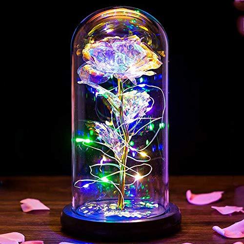 PASDTFB Rosa Eterna La Bella y La Bestia Kit de Rosas Rosa Encantada con Luz LED en Cúpula de Cristal en Base Magicos Decoración para Día de San Valentín Día de la Madre Aniversario Boda Cumpleaños