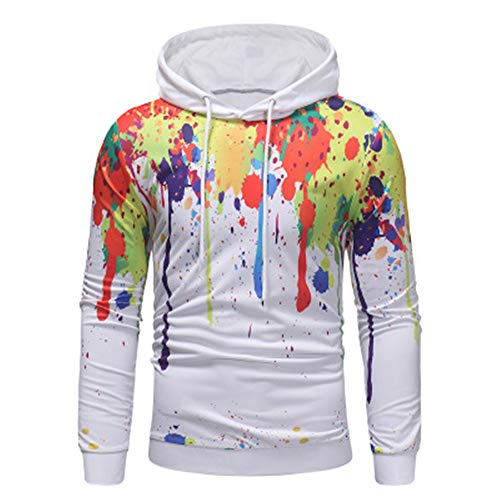 Herren-Sweatshirt mit kreativem Digitaldruck und Kordelzug Gr. XX-Large, weiß