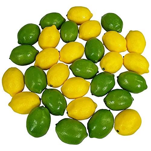 Viudecce 28StüCke / Set KüNstliche Zitronen und Limetten KunstfrüChte Dekorative KüNstliche Zitrus FrüChte KüNstliche Dekorationen für die WohnküChe