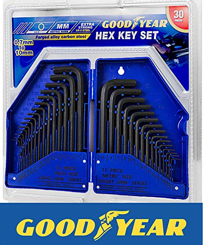 GOODYEAR 901857 30 Piece Hex Allen Alan Allan Key Set Kit with Case...