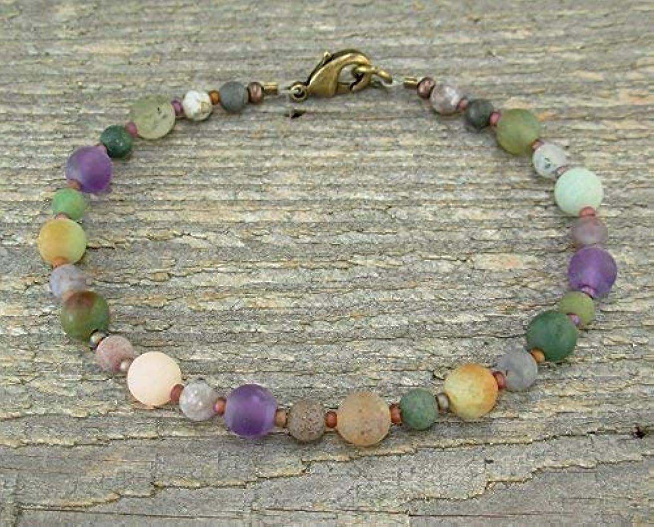 Tumbled Stone Beach Bracelet in Natural Jasper and Amethyst