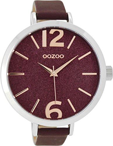 Oozoo Damenuhr mit Lederband 48 MM Glitzer/Weinrot C9193