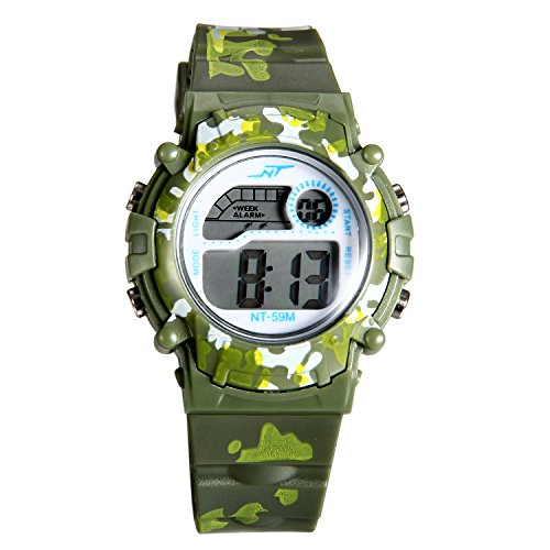 Kids Camouflage Digital LED Multi-Function Military Outdoors Wristwatch (3 Colors) (Green)