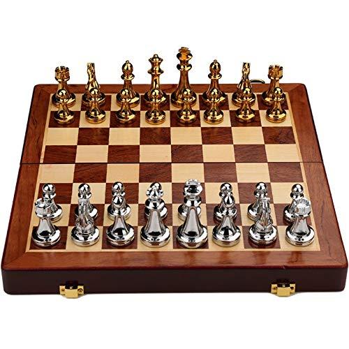 DJRH Conjunto de ajedrez Internacional con Placa de ajedrez de Madera Plegable y Piezas de ajedrez de Metal de Piezas de Metal clásicas de Piezas para niños (11.8 * 11.8 en) ( Color : Gold Silver )