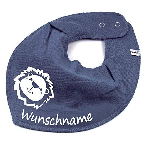 Elefantasie HALSTUCH Löwe mit Namen oder Text personalisiert dunkelgrau für Baby oder Kind