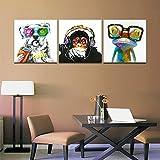 CyiohArt - 3パネル抽象的なパッチワーク絵画壁アート - ゴリラモンキーミュージックハッピードッグカエル - キャンバスアートホームインテリア - 30x30cm