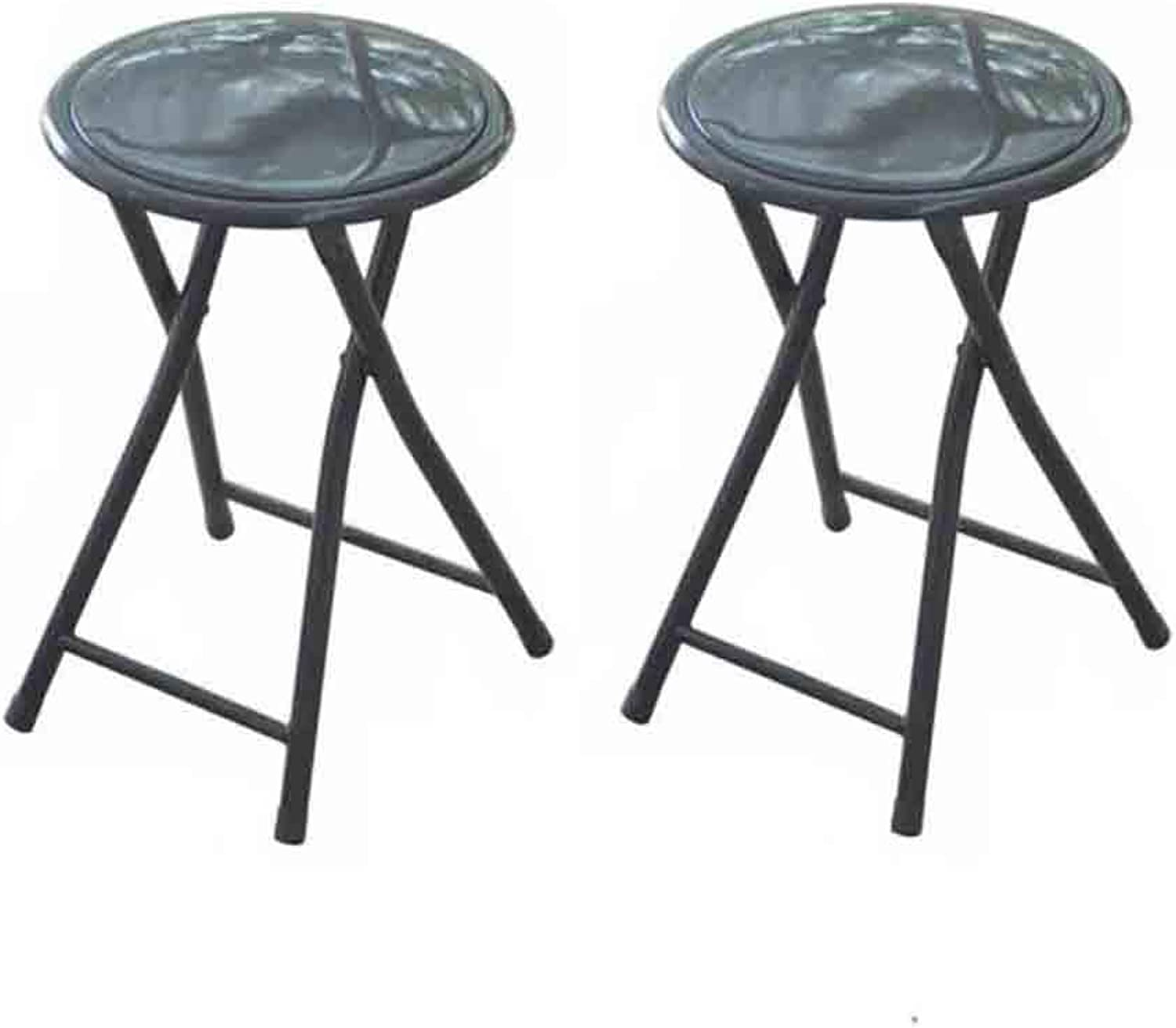 LBYMYB Round Compact Stackable Folding Stool 2 Pieces for Household Portable PU Seat Surface Chair (color   Black)