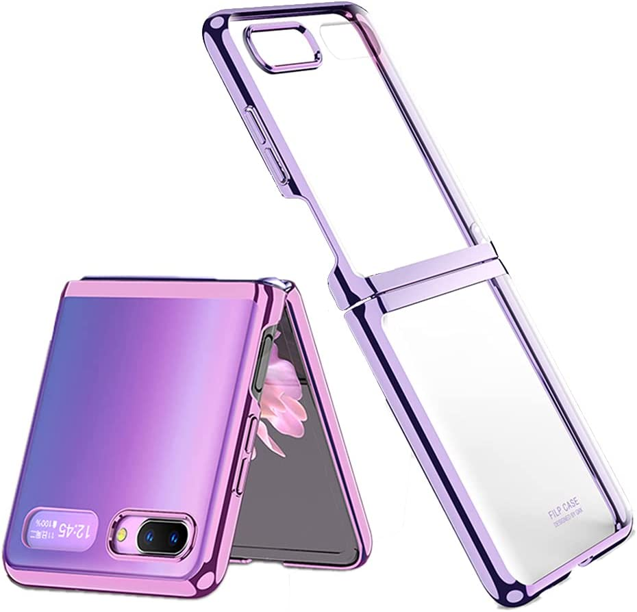 Case for Galaxy Z Flip (2020), Luxury 360 Protection Plating Transparent Case for Samsung Galaxy Z Flip 5G (Purple)
