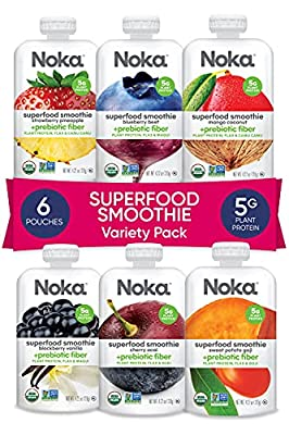 NOKA Superfood Pouches | 100% Organic Fruit And Veggie Smoothie Squeeze Packs | Non GMO, Gluten Free, Vegan, 5g Plant Protein | 4.2oz Each