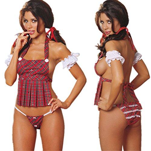 chenyesun Reizwäsche Damen Schoolgirl's Sexy Cosplay Kleid Rock Set Nachtwäsche Dessous Schulmädchen Kostüm Erotische Halloween Kostüm