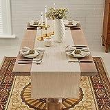 DAPU Tischläufer Leinen, 40x180cm Abwaschbare Tisch Läufer aus 100prozent Französisches Naturleinen, Moderne Einfarbige Tischdecke Leinenoptik für Essentisch Hochzeit Party, Beige/Naturleinen