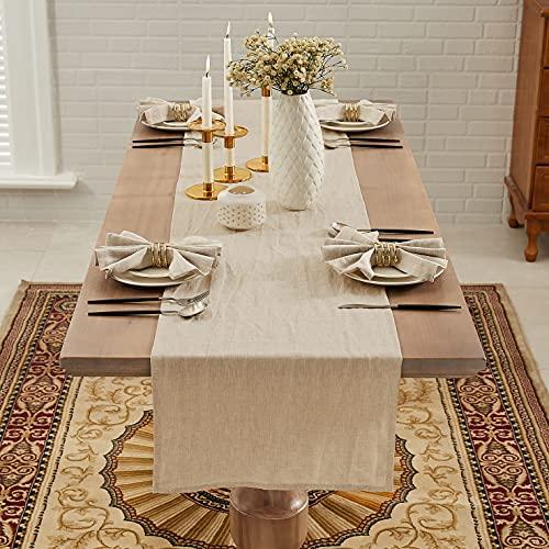 DAPU Camino de mesa de lino, 40 x 180 cm, lavable, 100% lino natural, moderno, monocolor, aspecto de lino, para bodas, fiestas, color beige