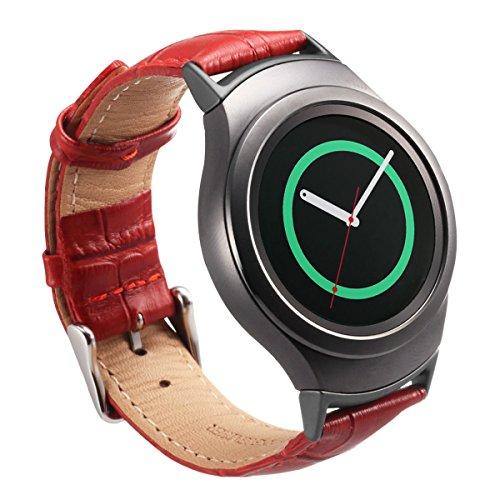 Vanctec SM-R720/R730 Cinturino di ricambio per smartwatch  Samsung Gear S2 con sgancio rapido, con adattatore e connettore in acciaio inossidabile, per donne/uomini