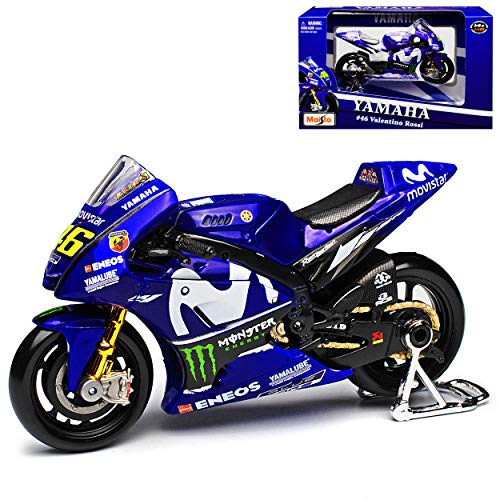 Yamaha YZR-M1 GP18 MotoGP Nr 46 2018 Valentino Rossi 1/18 Maisto Modell Motorrad mit individiuellem Wunschkennzeichen