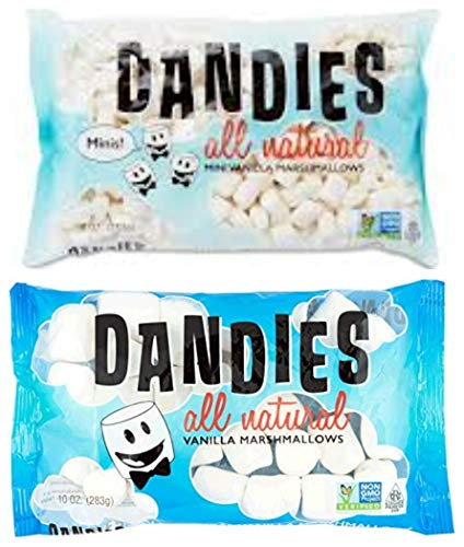 Dandies Vegan Marshmallows Regular and Minis 10 Ounce 1 of each