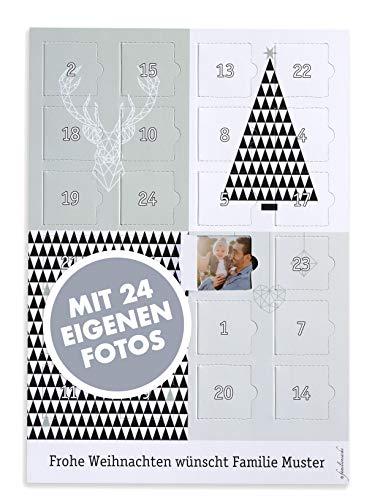 Familiensache Foto Adventskalender 2020 mit eigenen Bildern - zum Selbstgestalten - hochwertiges Papier 300gr/m2 - Design: Origami - DINA4 (Grün-Grau)